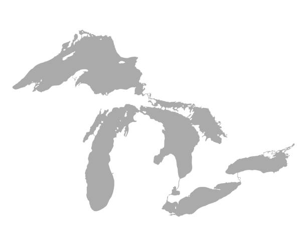 map of great lakes - lake superior stock illustrations, clip art, cartoons, & icons