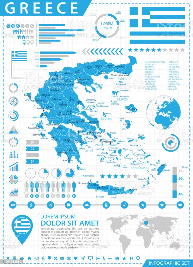 Map Of Greece Infographic Vector Stock Vector Art & More Images of ...