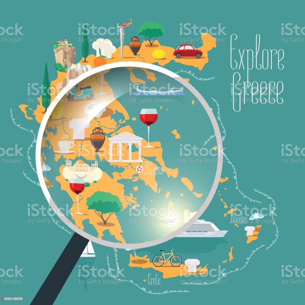 Map Of Greece Vector Illustration Design Element Stock Vector Art - Map of greece