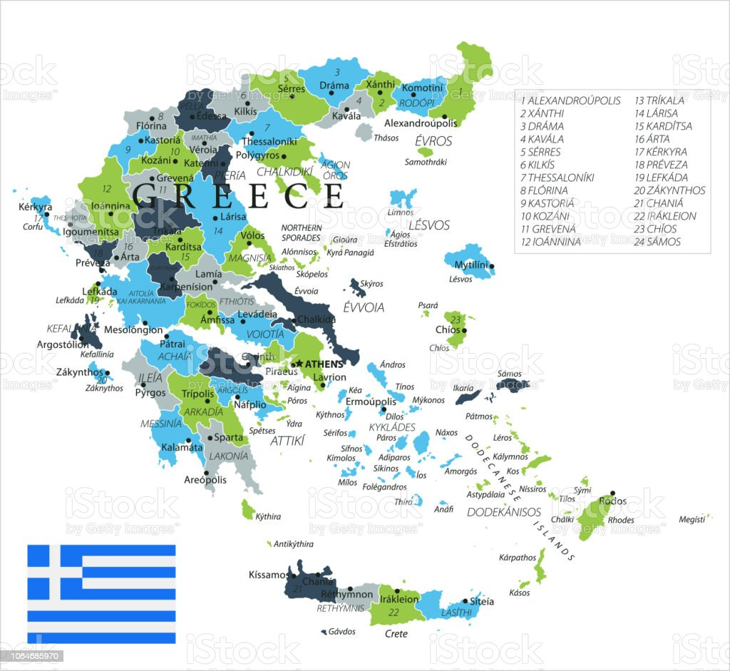 Map Of Greece Vector Stock Illustration - Download Image Now ...