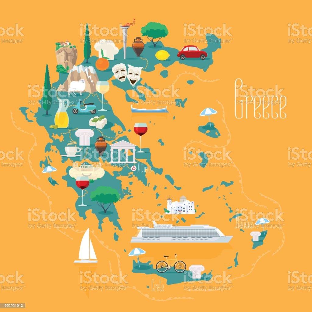 Karta Aten Grekland.Karta Over Grekland Med Oarna Vektorillustration Designelement