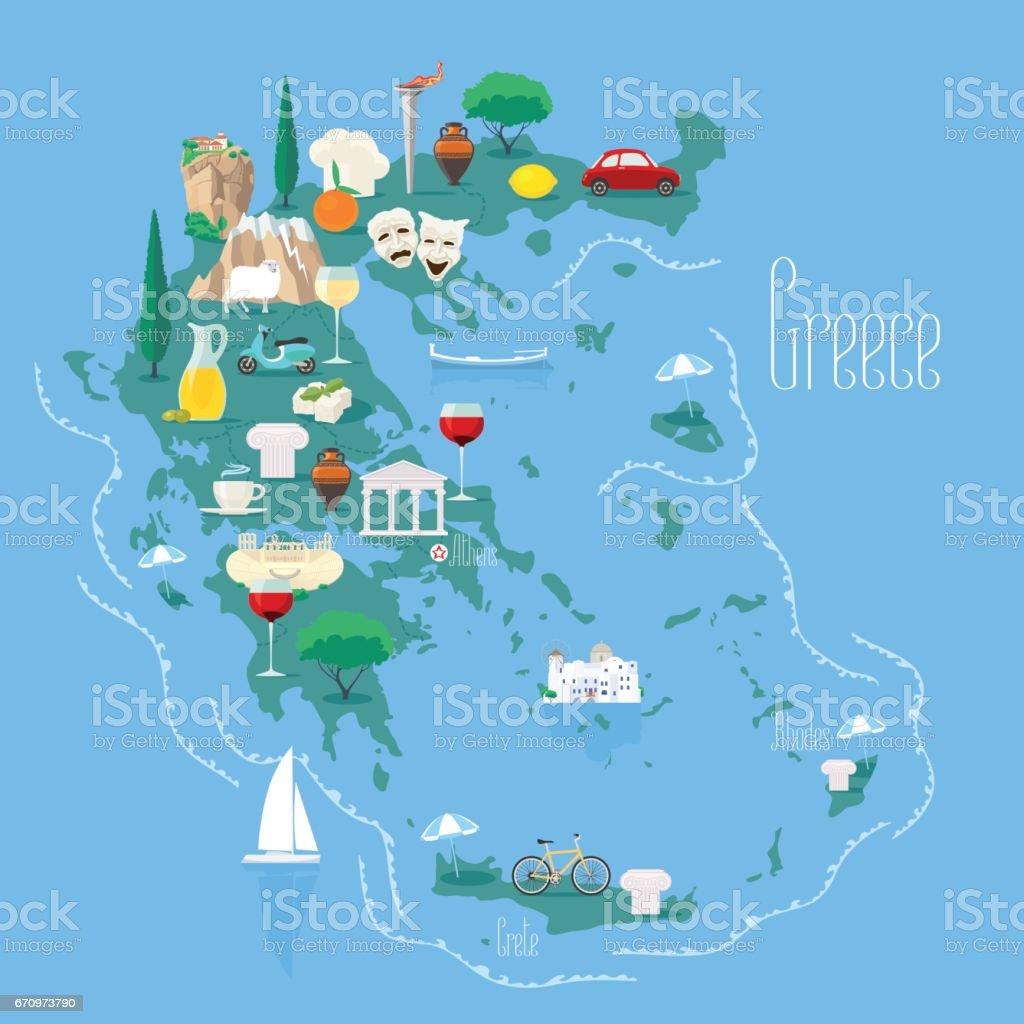 Karta Europa Grekland.Karta Over Grekland Med Oarna Vektorillustration Designelement