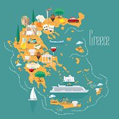 Map of Greece with islands vector illustration, design