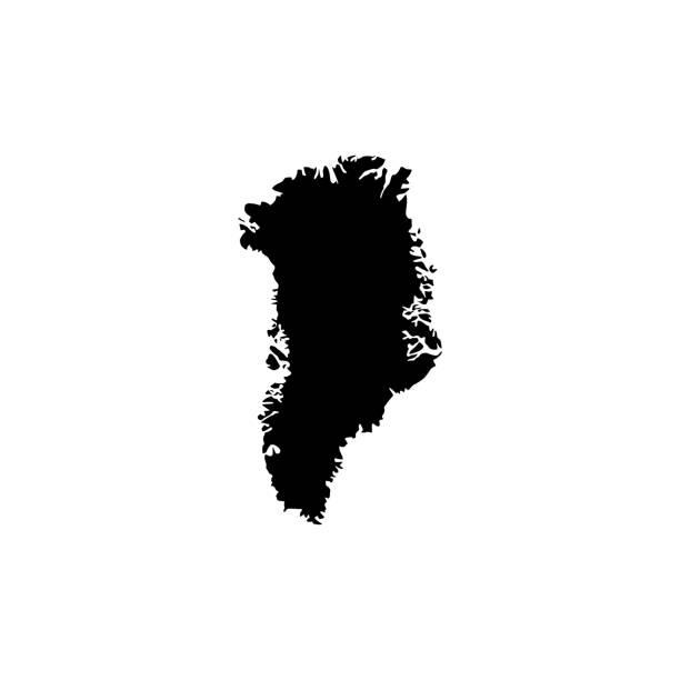 Map of Greenland Black vector Map of Greenland greenland stock illustrations