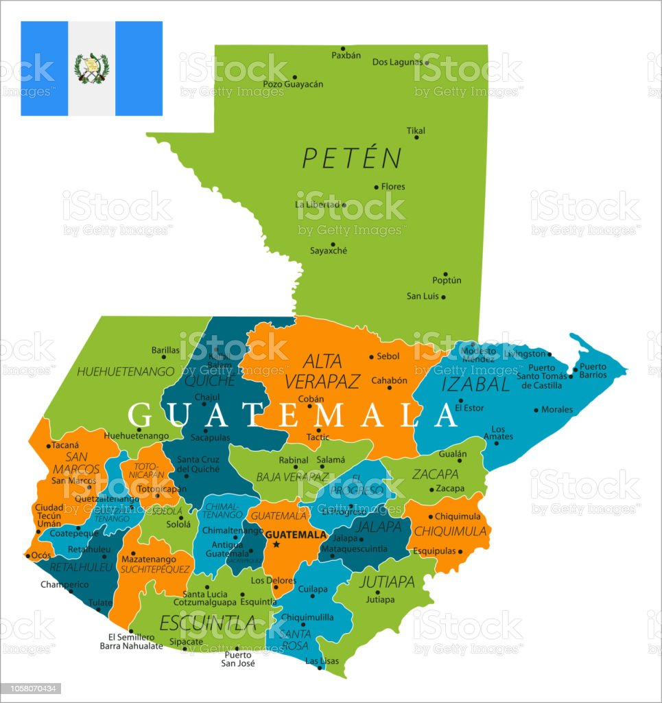 Map Of Guatemala Vector Stock Vector Art & More Images of Blue - iStock