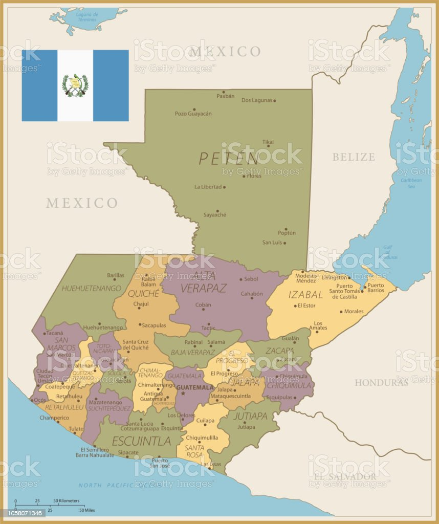 Map Of Guatemala Vintage Vector Stock Vector Art & More Images of ...