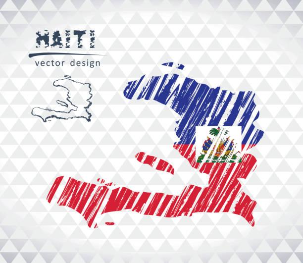 Map of Haiti with hand drawn sketch pen map inside. Vector illustration Honduras vector hand drawn sketch map drawing of a haiti map stock illustrations