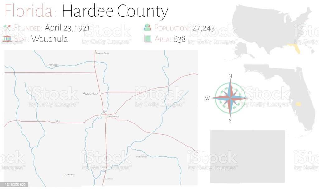 Map Of Hardee County In Florida Stock Illustration Download