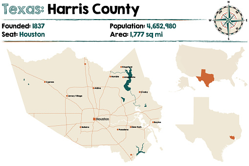 Map of Harris county in Texas