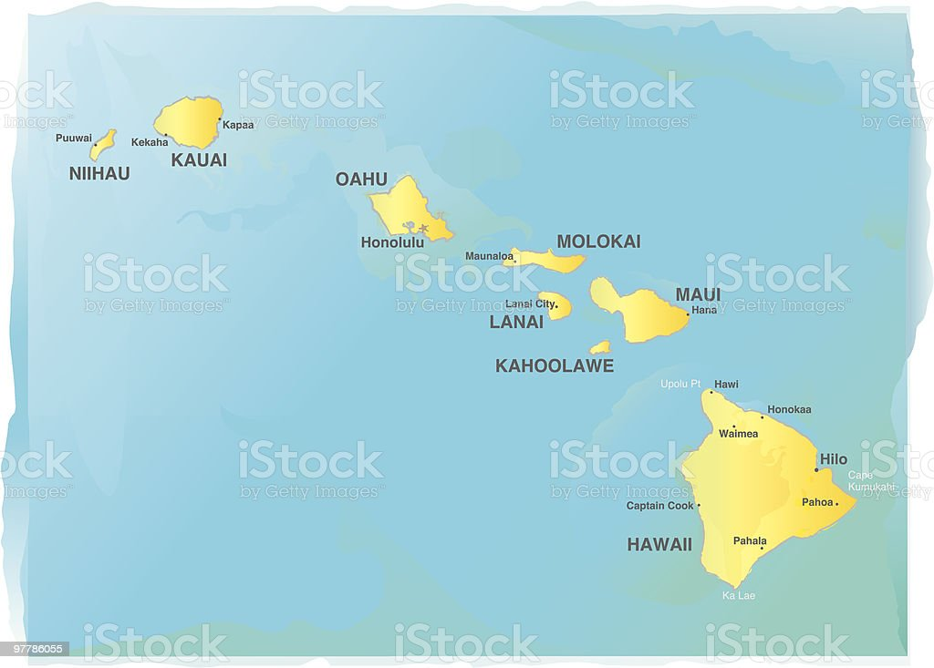 Map of Hawaii - Watercolor style vector art illustration
