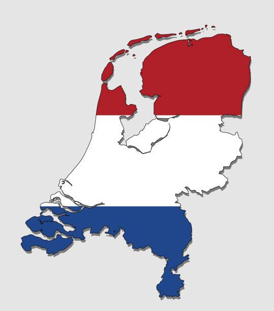 stockillustraties, clipart, cartoons en iconen met kaart van holland, gevuld met de nationale vlag - eindhoven