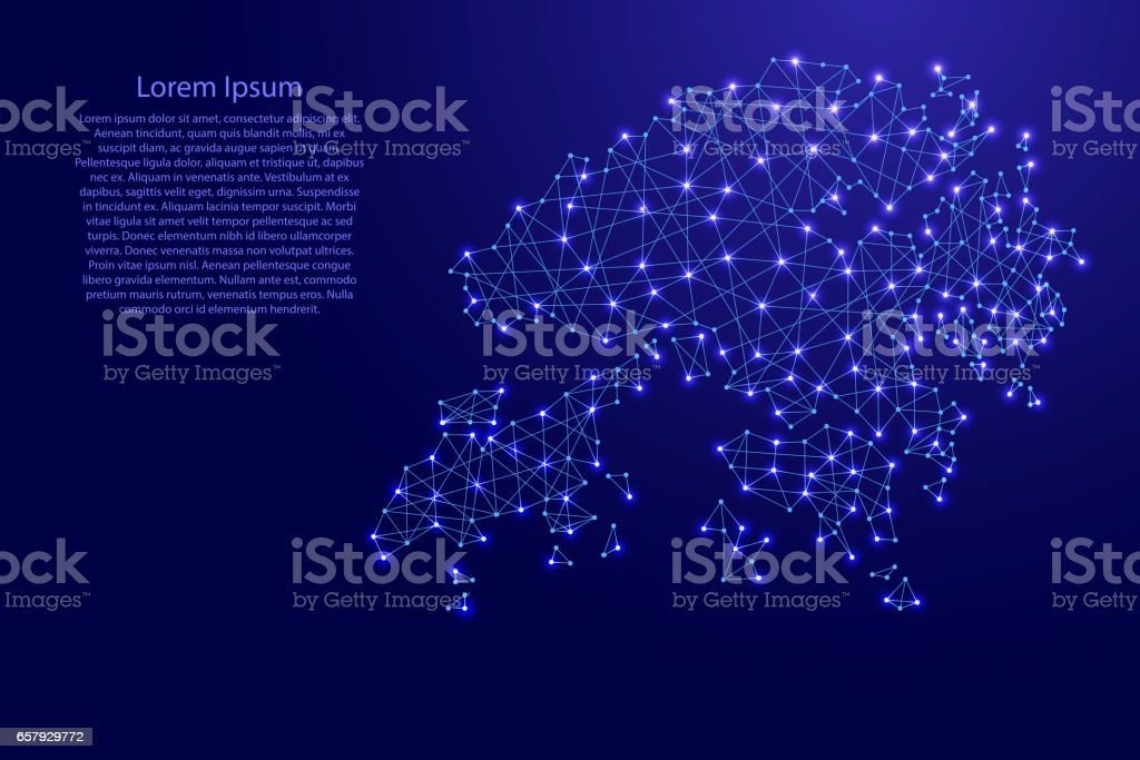 Map of Hong Kong from polygonal blue lines and glowing stars vector...