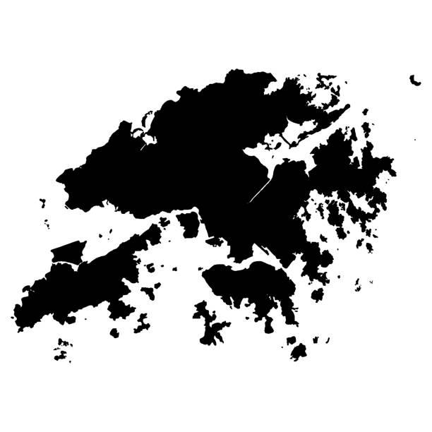 illustrazioni stock, clip art, cartoni animati e icone di tendenza di map of hong kong - hong kong