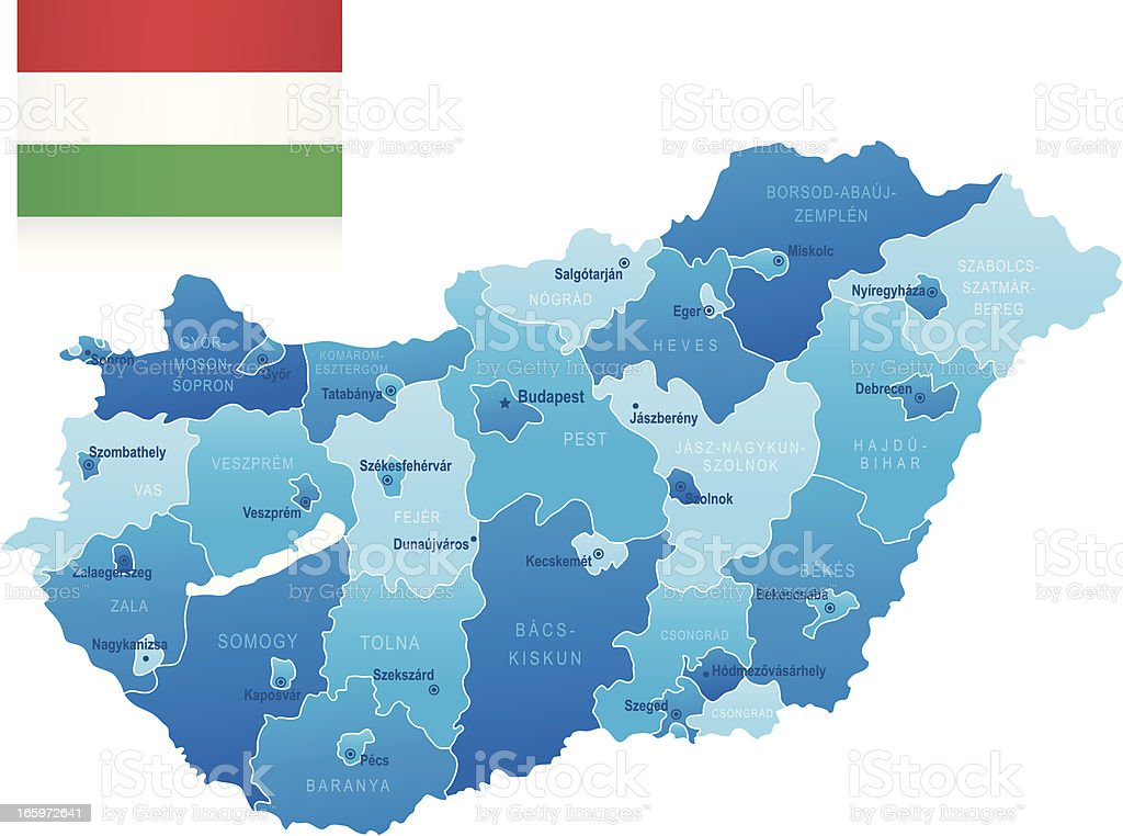 Map of Hungary - states, cities and flag vector art illustration