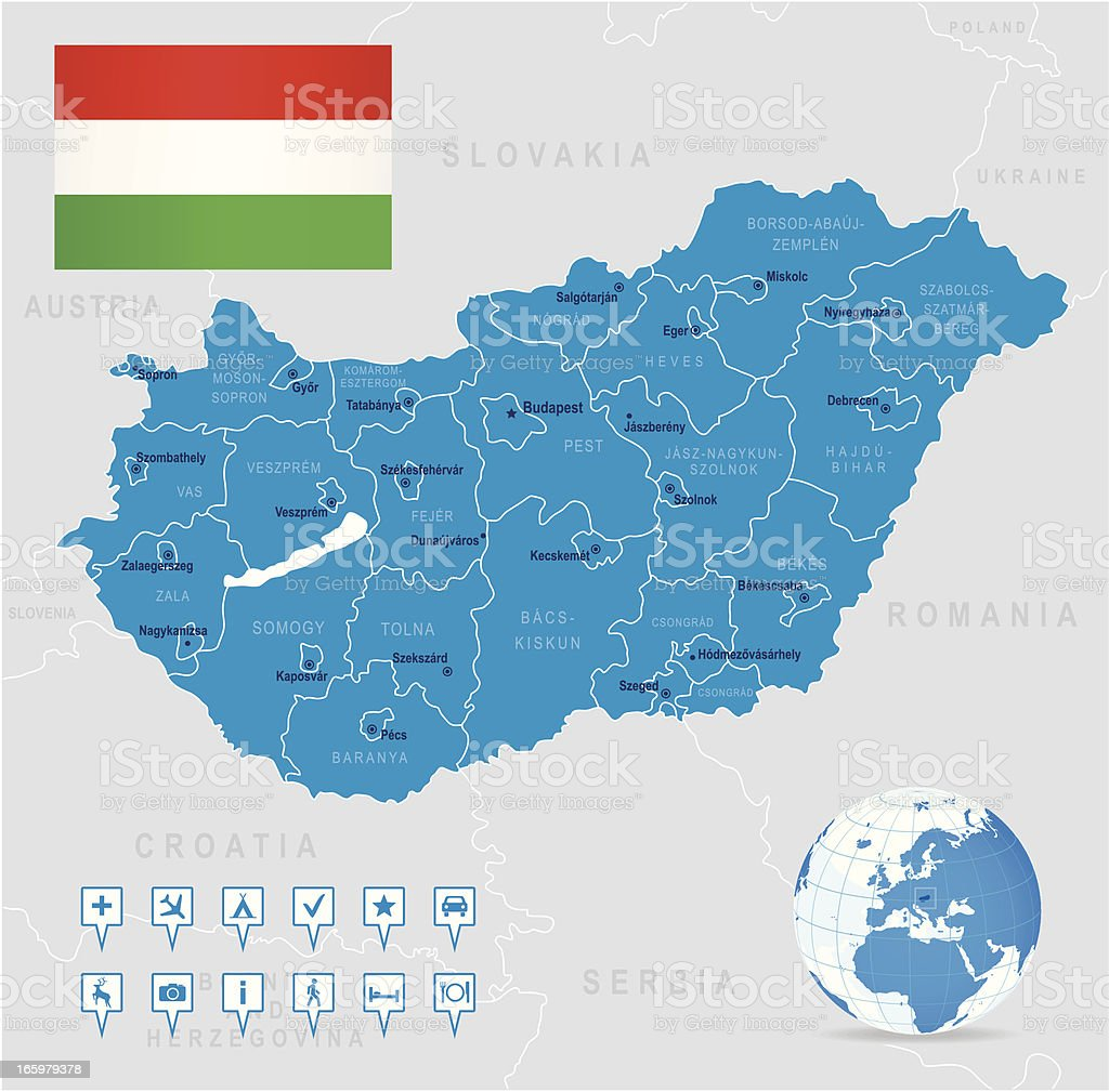 Map of Hungary - states, cities, flag, navigation icons vector art illustration