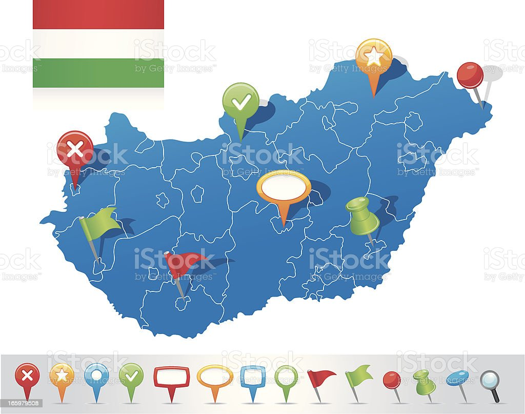 Map of Hungary with navigation icons vector art illustration