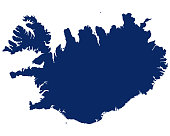 istock Map of Iceland in blue colour 1197886994