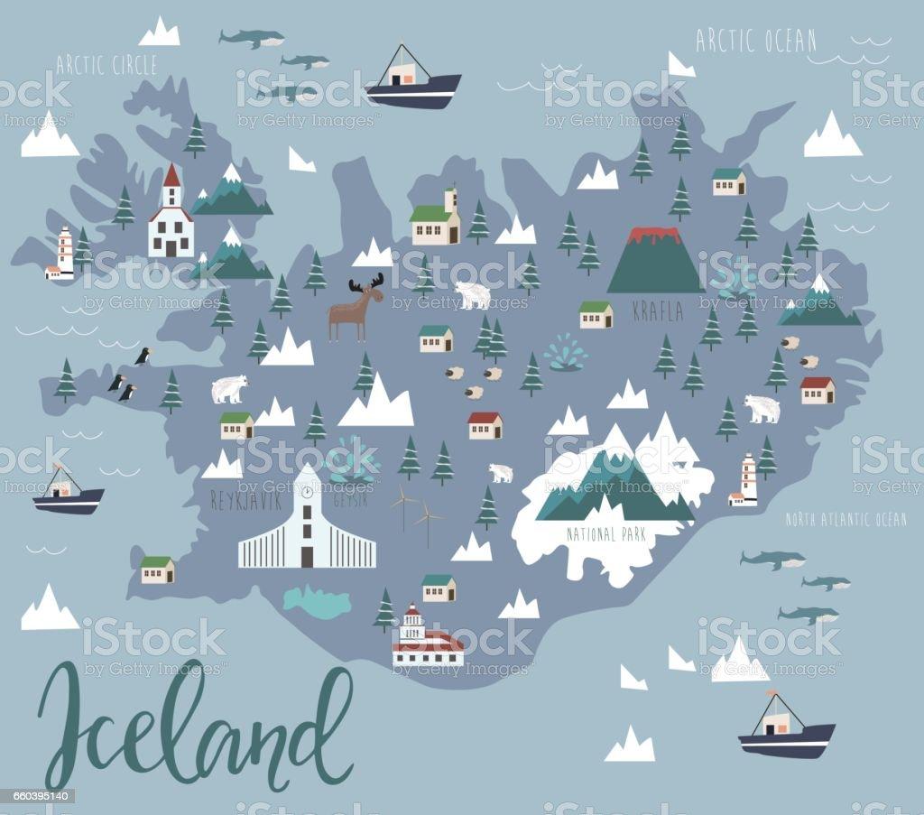 Map of Iceland vector art illustration