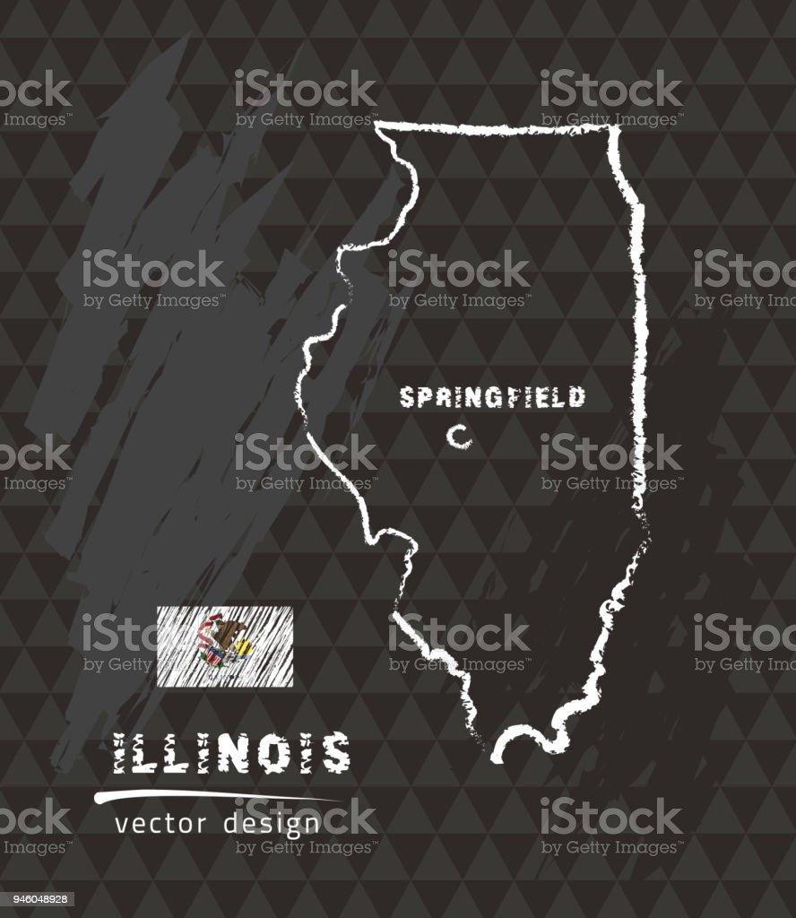 Map of Illinois, Chalk sketch vector illustration vector art illustration