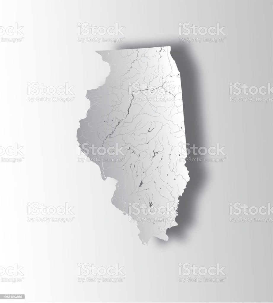 Image of: Map Of Illinois State With Lakes And Rivers Stock Illustration Download Image Now Istock