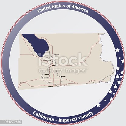 istock Map of Imperial County in California 1264272379