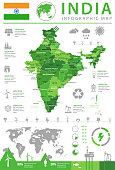 Map of India - Infographic Vector illustration