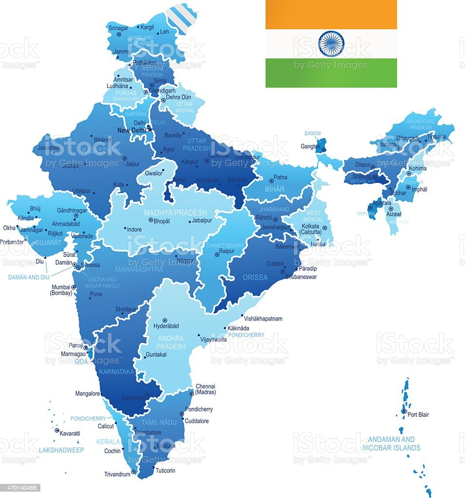 Map of India vector art illustration