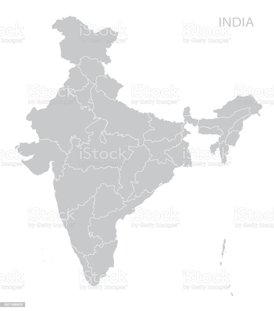 Map of India vector art illustration