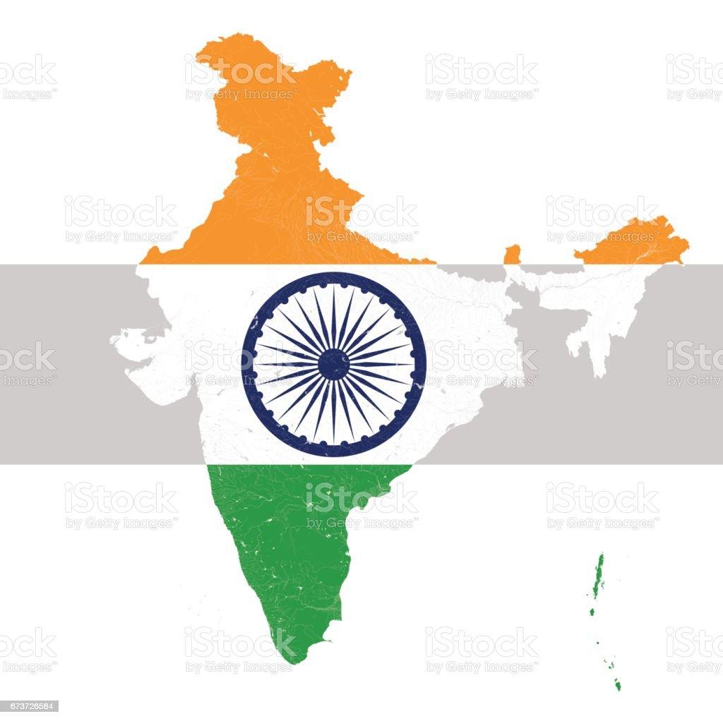 Map of India with rivers and lakes in colors of the national flag of India. map of india with rivers and lakes in colors of the national flag of india – cliparts vectoriels et plus d'images de asie libre de droits