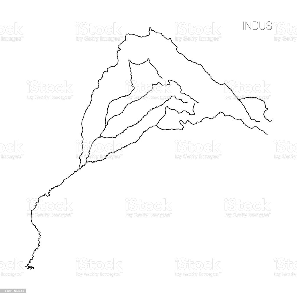 Map Of Indus River Drainage Basin Simple Thin Outline Vector ...