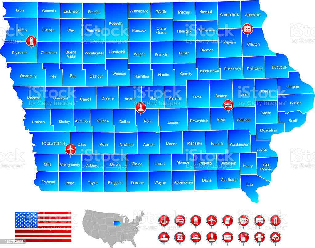 Map of Iowa royalty-free stock vector art