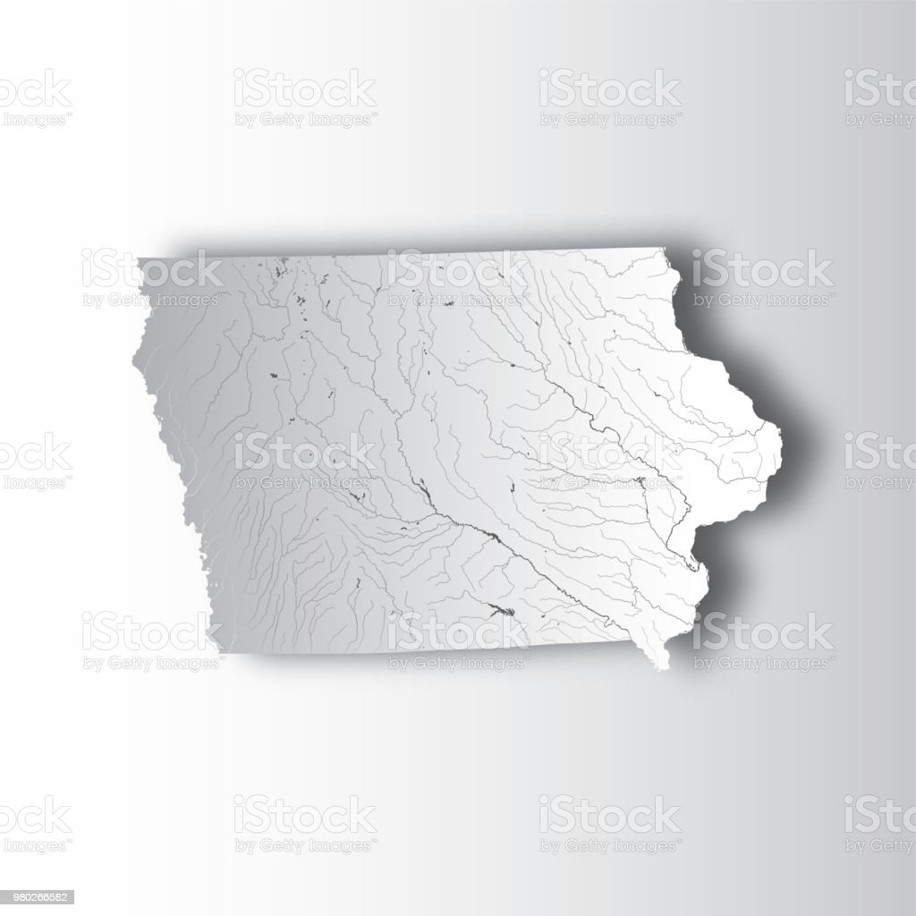 Map Of Iowa With Lakes And Rivers Stock Vector Art More Images Of