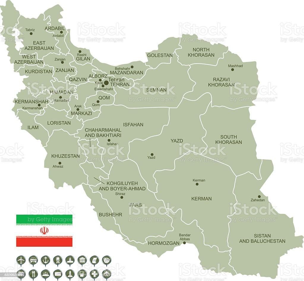 Mapa do Irã - ilustração de arte em vetor