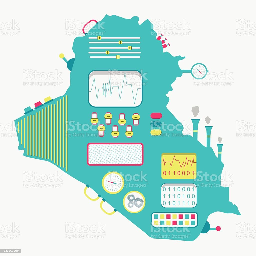 Map of Iraq machine vector art illustration