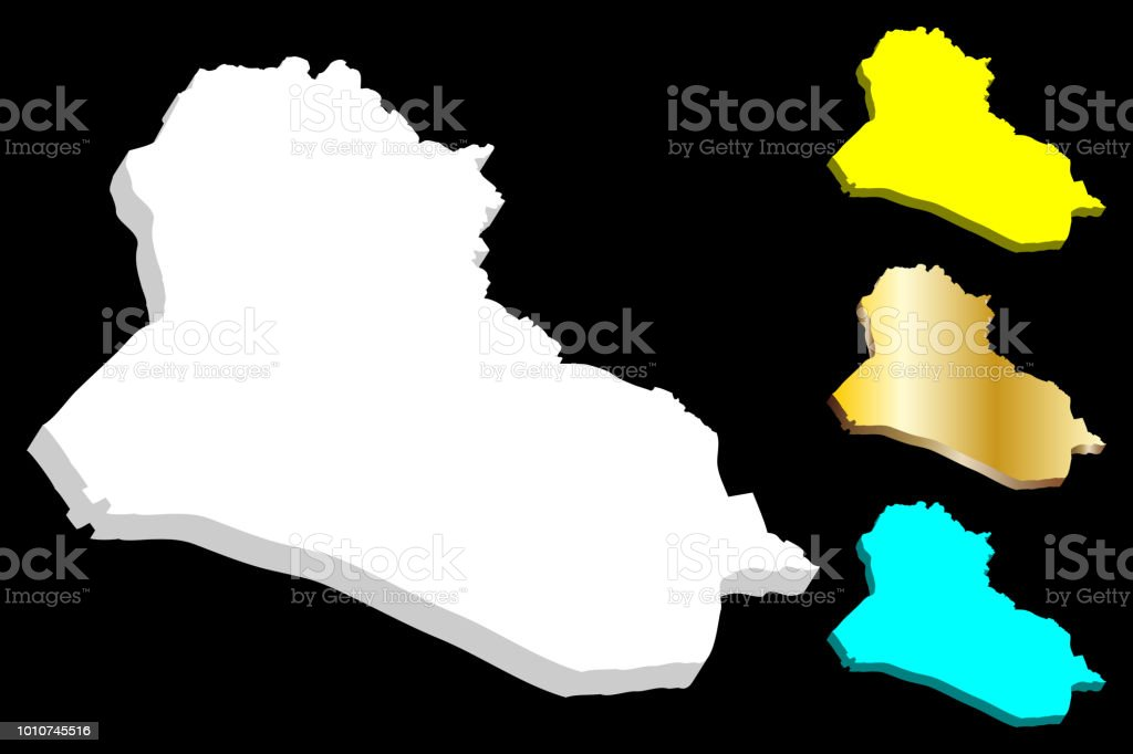 3D map of Iraq vector art illustration