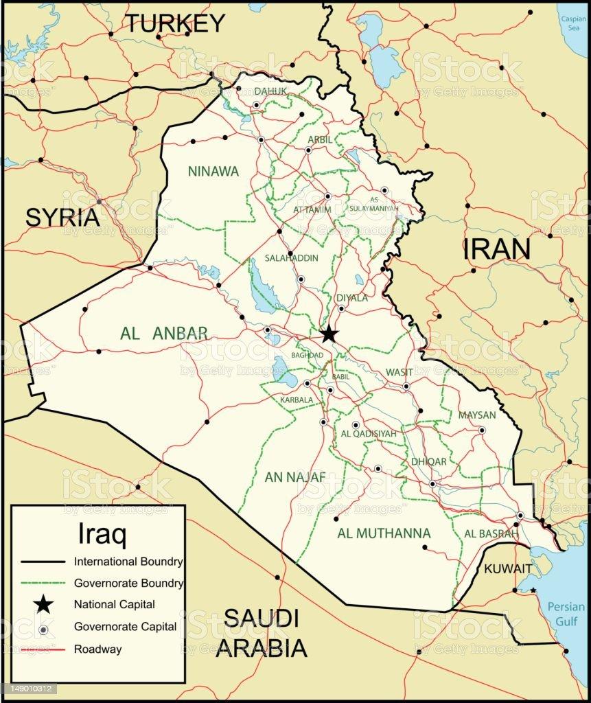 Map of Iraq vector art illustration