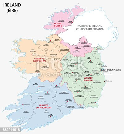 istock map of ireland administrative divisions on counties 865244918