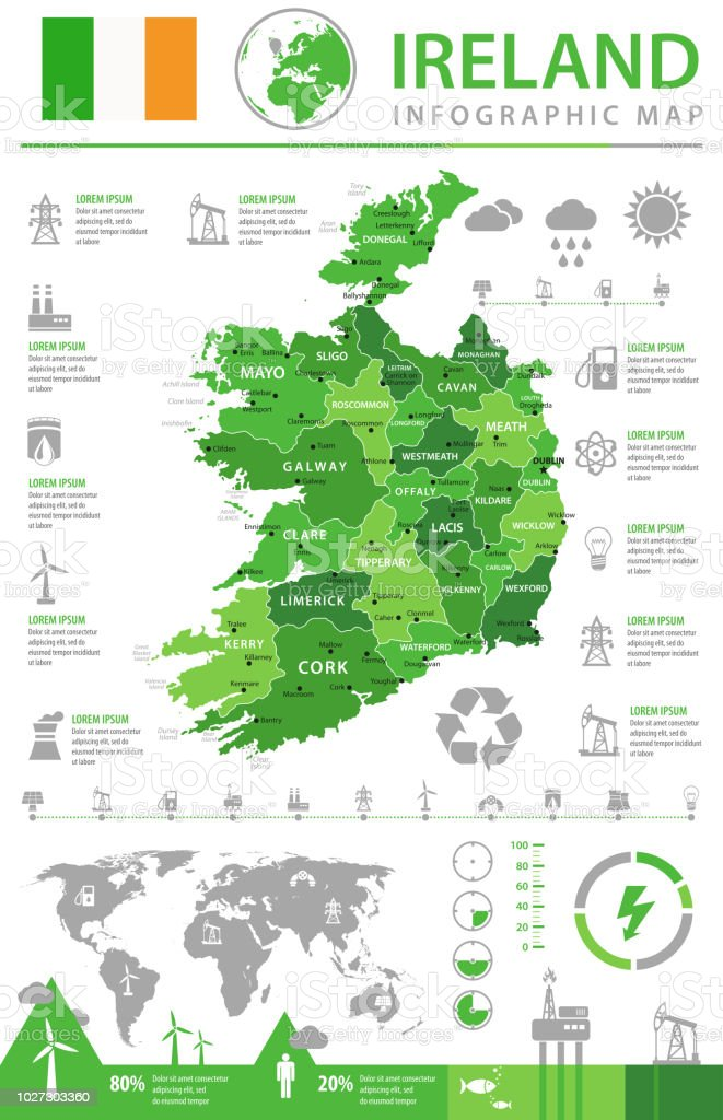 Map Of Ireland 2100.Map Of Ireland Infographic Vector Stock Illustration Download