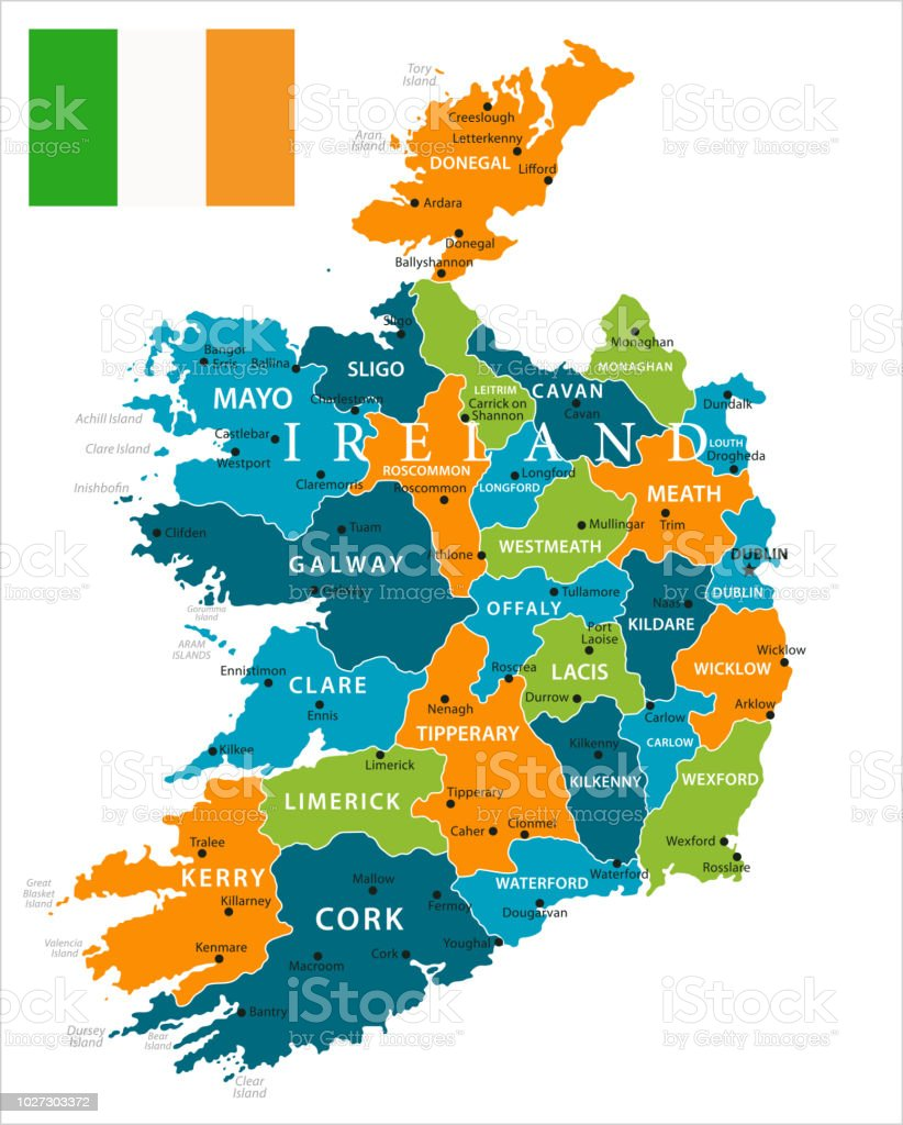 Map Of Ireland Kenmare.Map Of Ireland Vector Stock Vector Art More Images Of Ballyshannon