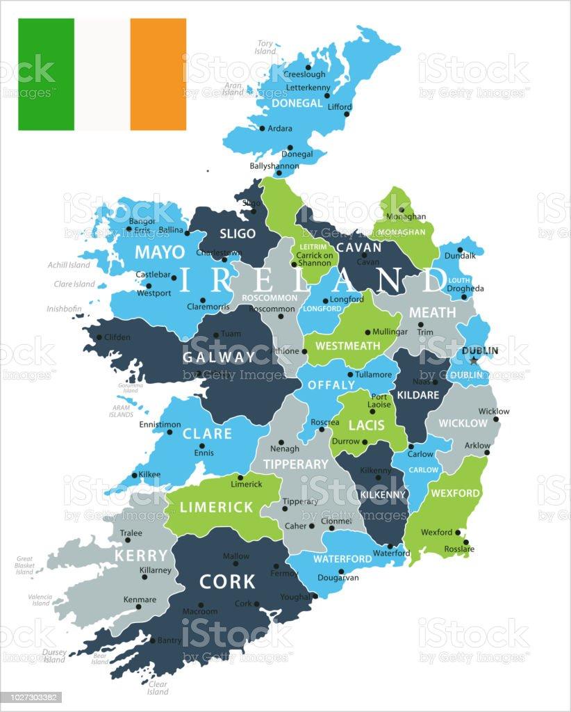 Ilustración de Mapa De Irlanda Vector y más banco de imágenes de ...