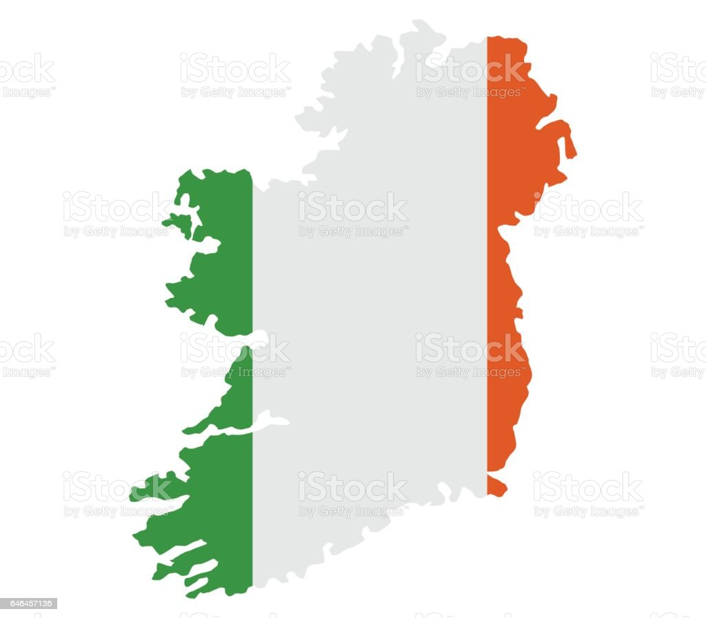 map of ireland with flag vector art illustration