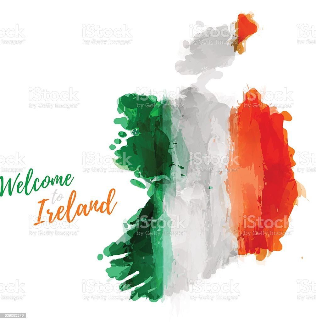 Map of Ireland with the decoration of the national flag vector art illustration