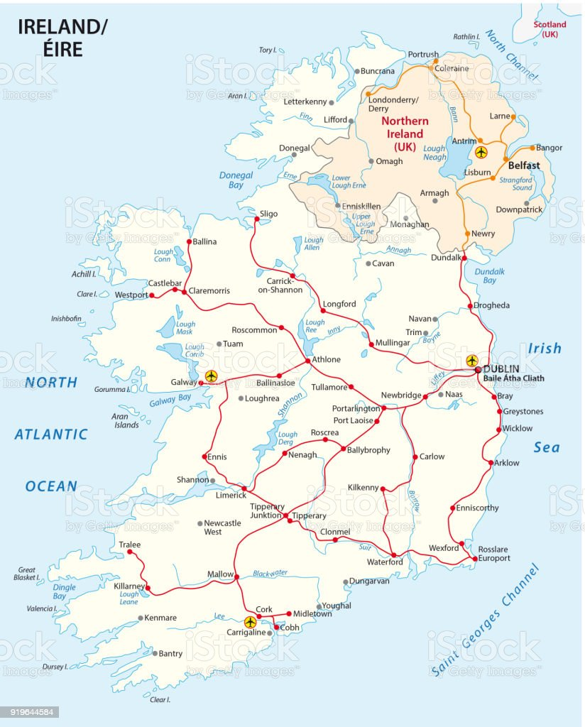 Rail Map Of Ireland.Map Of Ireland With The Rail Route Network Stock Vector Art More