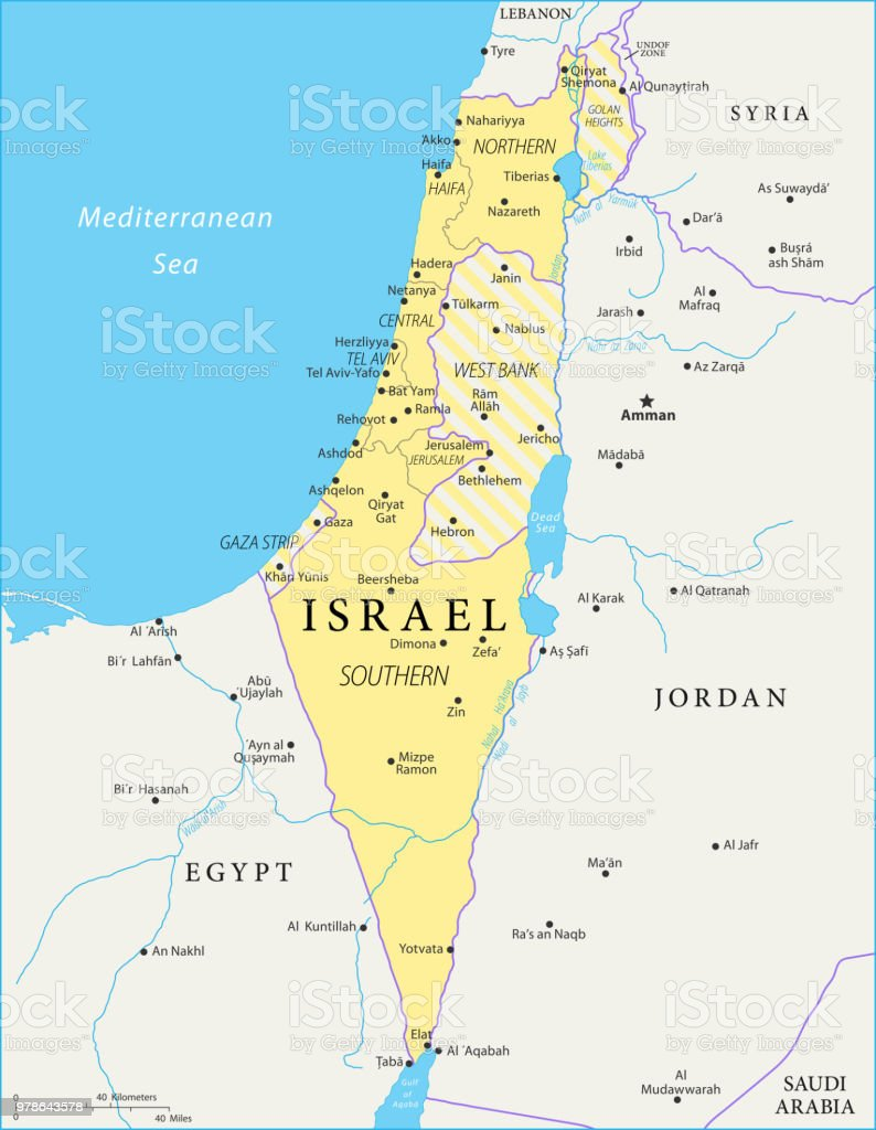 Map Of Israel Vector Stock Vector Art & More Images of Ashdod | iStock