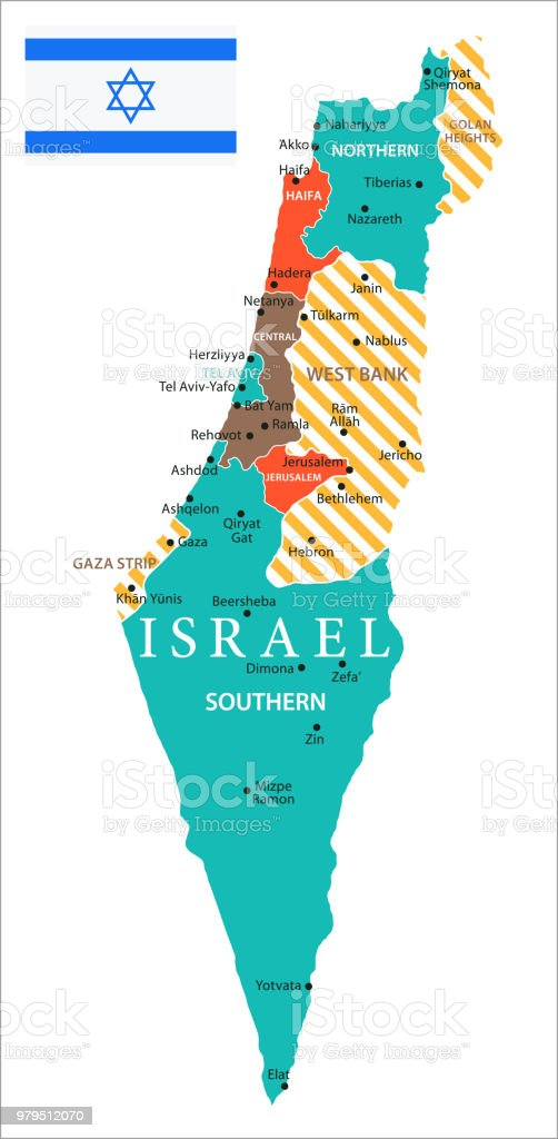 Map Of Israel Vector Stock Vector Art & More Images of Ashdod ...