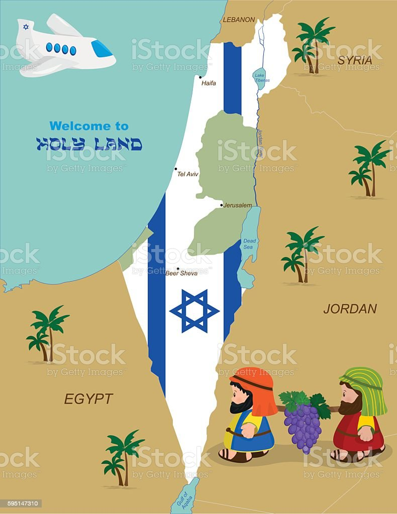 Map of Israel with two spies vector art illustration