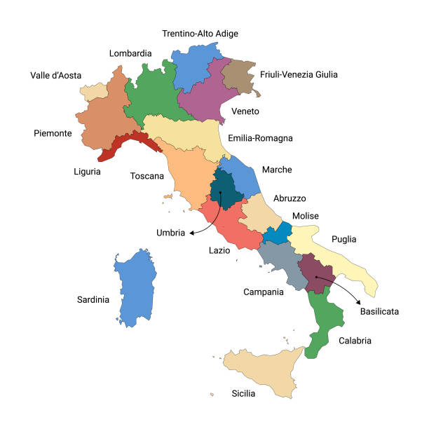 illustrazioni stock, clip art, cartoni animati e icone di tendenza di map of italy and its regions - calabria map