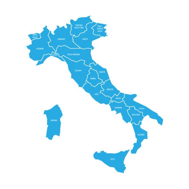 karte von italien unterteilt in 20 verwaltungsbezirke. blaue land, weiße ränder und weiße etiketten. einfache flache vektor-illustration - italien stock-grafiken, -clipart, -cartoons und -symbole