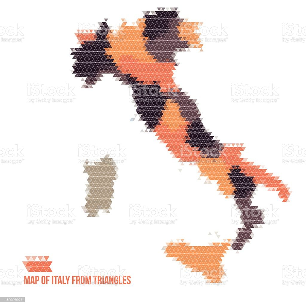 Map Of Italy From Triangles royalty-free stock vector art