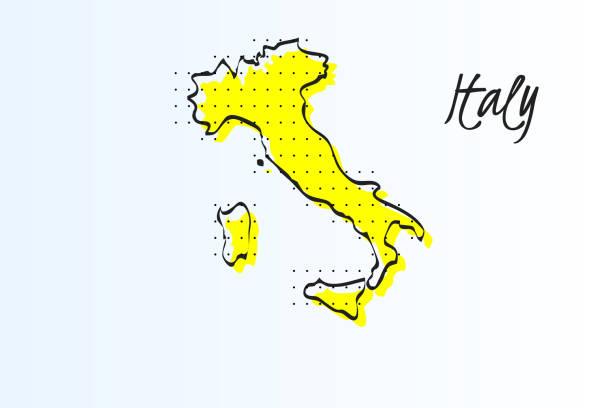 karte von italien, halbton abstrakten hintergrund. gezogene grenze und gelbe farbe - italien stock-grafiken, -clipart, -cartoons und -symbole